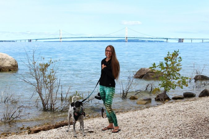 Lili and I enjoyed a hike down to the otherside of the Mackinac Bridge. Reflection by Don Markham.